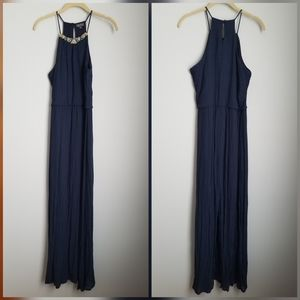 Lily Rose blue maxi dress wood bead detail
